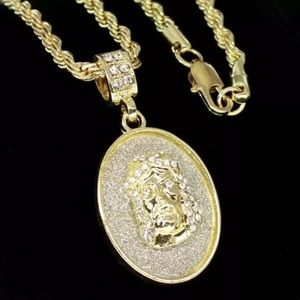 14K Iced Out Jesus Piece With Chain